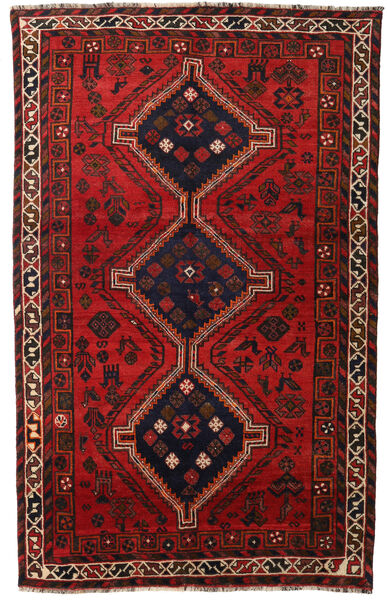 Shiraz Rug 158X251 Authentic  Oriental Handknotted Dark Red/Black/Rust Red (Wool, Persia/Iran)