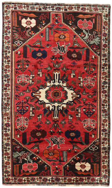 Shiraz Rug 152X252 Authentic  Oriental Handknotted Dark Brown/Rust Red (Wool, Persia/Iran)