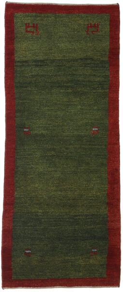 Gabbeh Persia Rug 84X204 Authentic  Modern Handknotted Hallway Runner  Dark Green/Dark Red (Wool, Persia/Iran)
