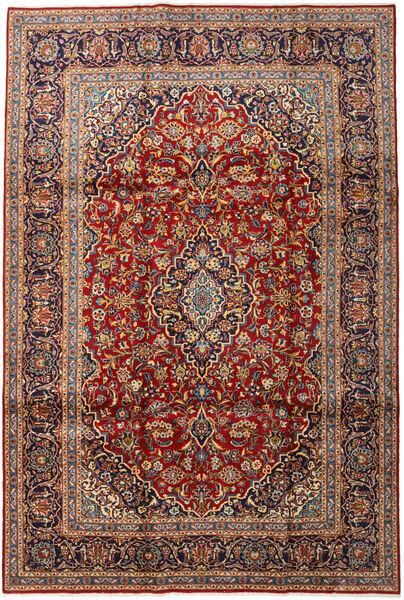 Keshan Rug 220X328 Authentic  Oriental Handknotted Dark Brown/Dark Red (Wool, Persia/Iran)