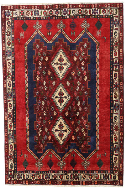 Afshar Matta 164X241 Äkta Orientalisk Handknuten Mörkröd/Svart (Ull, Persien/Iran)