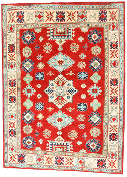 Kazak Rug 150X204 Authentic  Oriental Handknotted Crimson Red/Dark Beige (Wool, Pakistan)