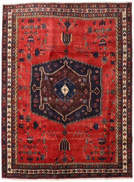 Afshar Matta 190X255 Äkta Orientalisk Handknuten Mörkbrun/Roströd/Mörkröd (Ull, Persien/Iran)