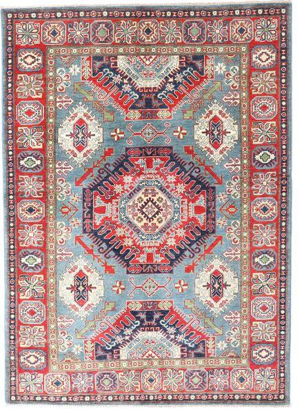 Kazak Matto 145X202 Itämainen Käsinsolmittu Vaaleanharmaa/Tummanharmaa (Villa, Pakistan)