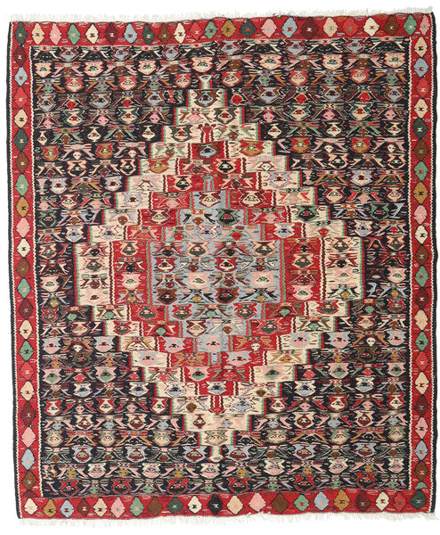 Kilim Senneh Rug 127X150 Authentic  Oriental Handwoven Dark Red/Dark Brown (Wool, Persia/Iran)