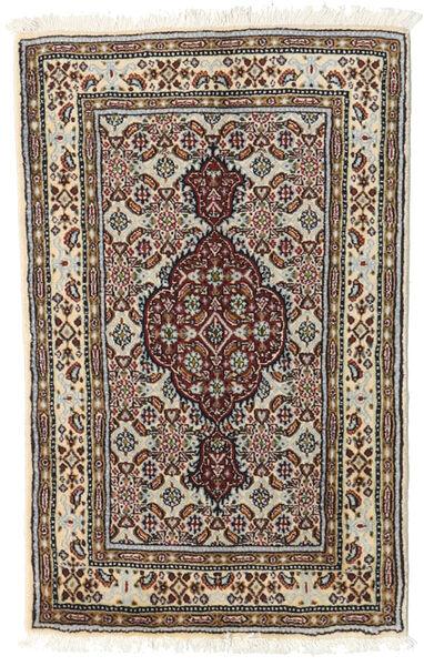 Moud Matta 57X89 Äkta Orientalisk Handknuten Mörkbrun/Ljusgrå (Ull/Silke, Persien/Iran)