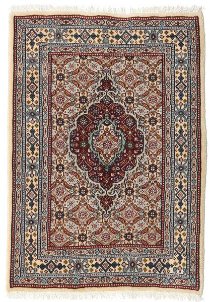 Moud Rug 62X89 Authentic  Oriental Handknotted Dark Brown/Light Grey (Wool/Silk, Persia/Iran)