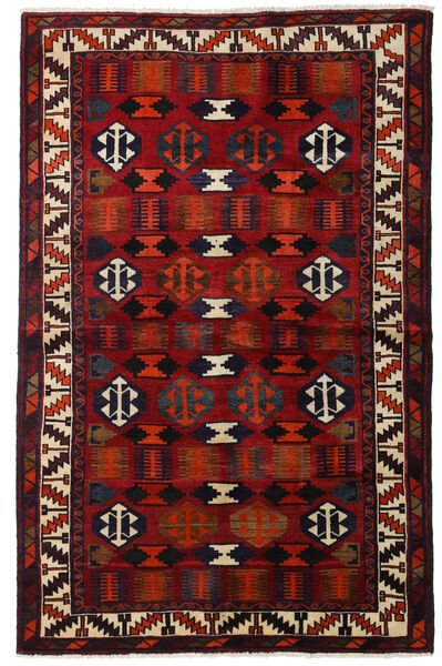 Lori Matta 145X224 Äkta Orientalisk Handknuten Mörkbrun/Mörkröd (Ull, Persien/Iran)