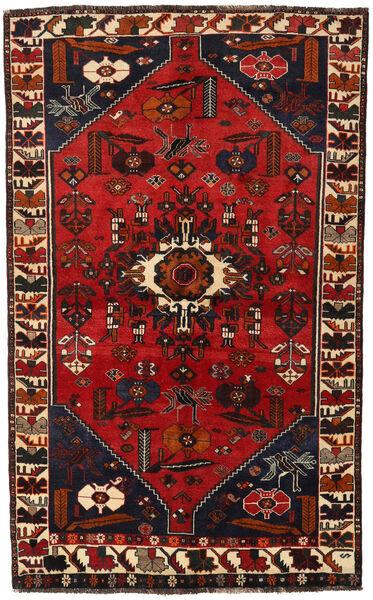 Shiraz Teppe 147X239 Ekte Orientalsk Håndknyttet Svart/Mørk Rød/Rust (Ull, Persia/Iran)