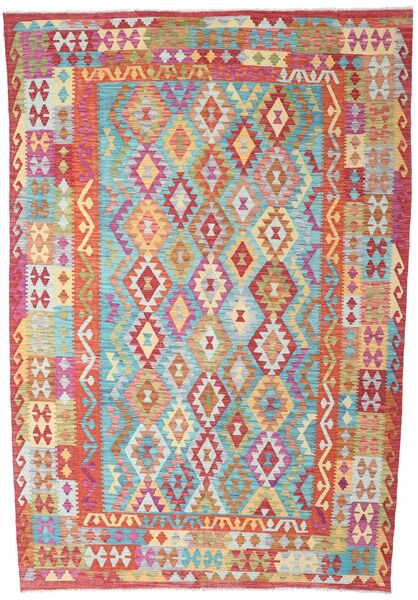 Kelim Afghan Old Style Teppe 200X293 Ekte Orientalsk Håndvevd Rust/Lysgrønn (Ull, Afghanistan)