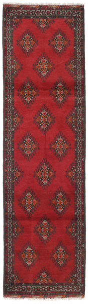 Afghan Teppe 82X292 Ekte Orientalsk Håndknyttet Teppeløpere Mørk Rød/Mørk Grå (Ull, Afghanistan)
