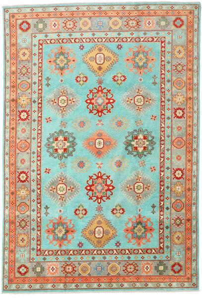 Kazak Rug 202X297 Authentic  Oriental Handknotted Turquoise Blue/Dark Beige (Wool, Pakistan)
