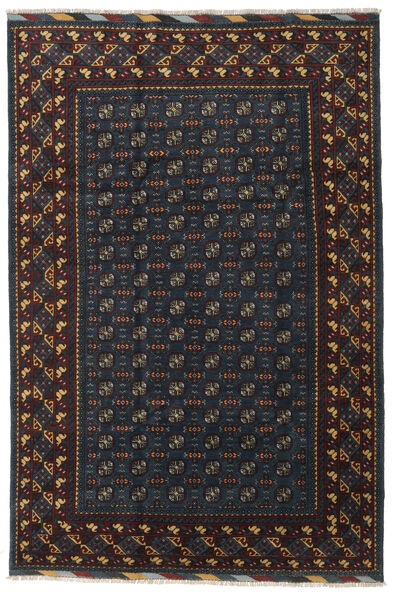 アフガン 絨毯 199X297 オリエンタル 手織り 黒/濃いグレー (ウール, アフガニスタン)