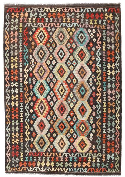 キリム アフガン オールド スタイル 絨毯 176X256 オリエンタル 手織り 濃い茶色/暗めのベージュ色の (ウール, アフガニスタン)