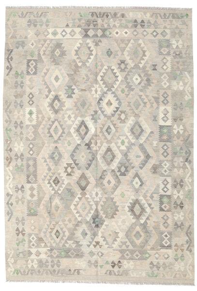 キリム アフガン オールド スタイル 絨毯 202X290 オリエンタル 手織り 薄い灰色/暗めのベージュ色の (ウール, アフガニスタン)