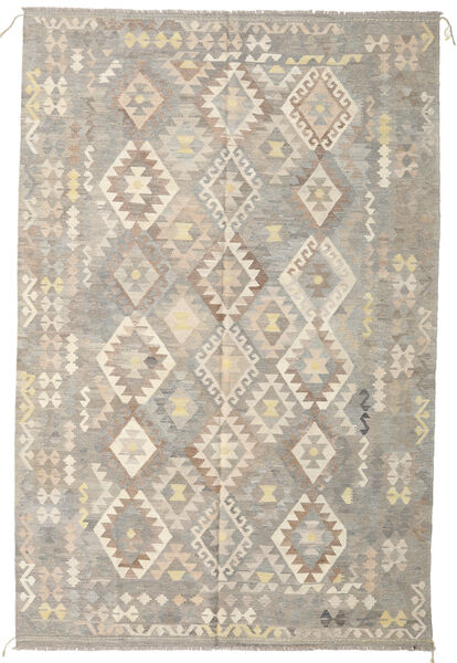 キリム アフガン オールド スタイル 絨毯 197X299 オリエンタル 手織り 薄い灰色/ベージュ (ウール, アフガニスタン)