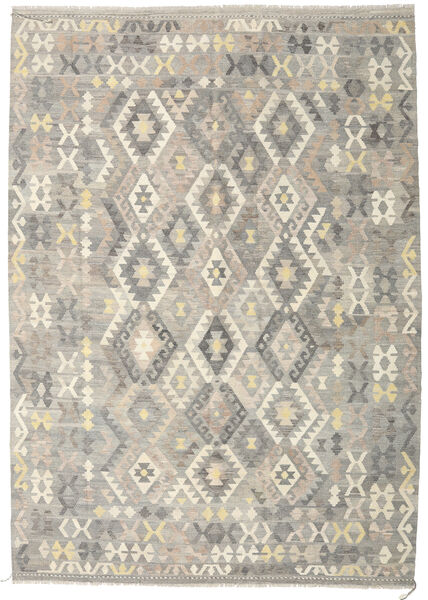 Kilim Afghan Old Style Rug 210X295 Authentic  Oriental Handwoven Light Grey/Beige (Wool, Afghanistan)