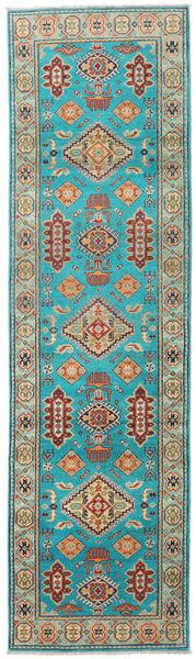 Kazak Rug 82X291 Authentic  Oriental Handknotted Hallway Runner  Turquoise Blue/Light Green (Wool, Pakistan)