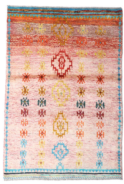 Moroccan Berber - Afghanistan Rug 94X139 Authentic  Modern Handknotted Light Pink/Beige (Wool, Afghanistan)