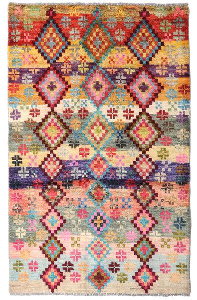 Moroccan Berber - Afghanistan Dywan 88X141 Nowoczesny Tkany Ręcznie Beżowy/Ciemnobrązowy (Wełna, Afganistan)