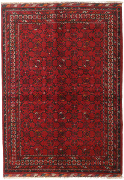 Afghan Teppe 150X211 Ekte Orientalsk Håndknyttet Mørk Rød/Mørk Brun (Ull, Afghanistan)