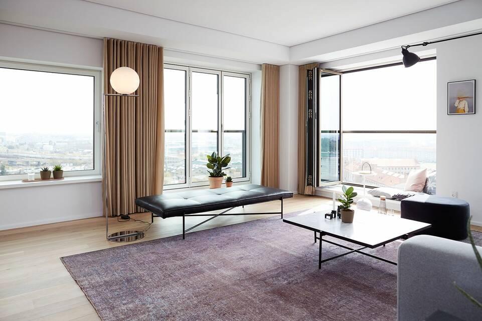 Avlång svart / grå colored vintage - Matta i vardagsrum.