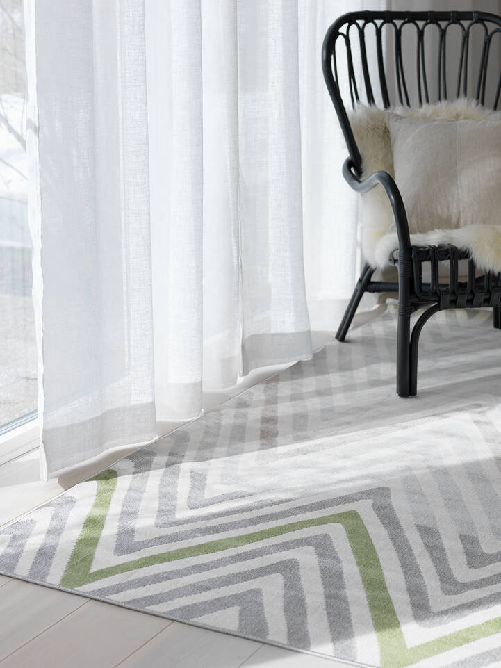 Valkoinen  piramit flat weave - matto olohuone.