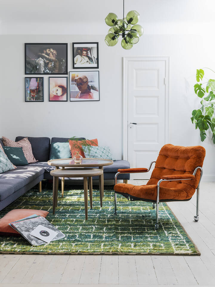 Green  barchi / moroccan berber - afganistan -  Carpet in a living room.