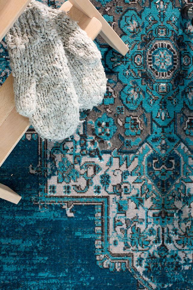 Niebieski,  dywan a-w unique flat w korytarz.
