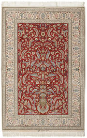 Isfahan Silk Warp Signed: Kheyri Rug 151X226 Authentic  Oriental Handknotted Light Brown/Dark Red (Wool/Silk, Persia/Iran)