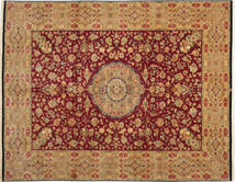 Tabriz 50 Raj Med Silke Teppe 304X411 Ekte Orientalsk Håndknyttet Lysbrun/Mørk Rød Stort (Ull/Silke, Persia/Iran)