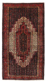 Senneh Tæppe 154X280 Ægte Orientalsk Håndknyttet Mørkerød/Mørkebrun (Uld, Persien/Iran)