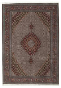 Tabriz 50 Raj Silkillä Matto 206X296 Itämainen Käsinsolmittu Tummanharmaa/Tummanruskea/Vaaleanruskea (Villa/Silkki, Persia/Iran)