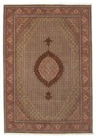 Tabriz 50 Raj Silkillä Matto 205X299 Itämainen Käsinsolmittu Ruskea/Vaaleanruskea (Villa/Silkki, Persia/Iran)