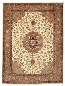 Tabriz 50 Raj Signert: Poornami Teppe 300X398 Ekte Orientalsk Håndknyttet Brun/Lysbrun Stort (Ull/Silke, Persia/Iran)