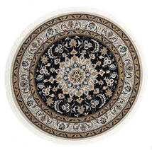 Nain Mahak Rug Ø 225 Oriental Round Dark Grey/Light Brown ( Turkey)