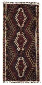 Kilim Malatya Szőnyeg 186X391 Keleti Kézi Szövésű Sötétbarna/Fekete (Gyapjú, Törökország)
