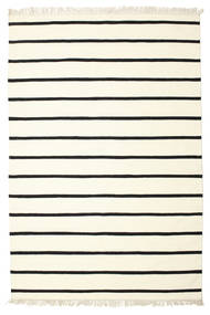 Dhurrie Stripe - White/Black Rug 190X290 Authentic  Modern Handwoven Beige/#Missing(0,)# (Wool, India)