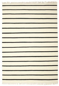 Dhurrie Stripe - White/Black Rug 220X320 Authentic  Modern Handwoven Beige/Black (Wool, India)