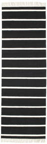 Dhurrie Stripe - Black/White Rug 80X250 Authentic  Modern Handwoven Hallway Runner  Black/Beige (Wool, India)