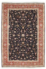 Tebriz 50 Raj Z Dodatkiem Jedwabiu Dywan 207X306 Orientalny Tkany Ręcznie Jasnobrązowy/Ciemnoszary (Wełna/Jedwab, Persja/Iran)