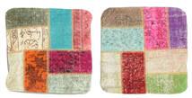 Patchwork Kuddfodral Matta 50X50 Äkta Orientalisk Handknuten Kvadratisk Mörkbeige/Beige (Ull, Turkiet)