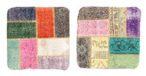 Patchwork Pillowcase Rug 50X50 Authentic Oriental Handknotted Square Light Grey/Dark Grey (Wool, Turkey)