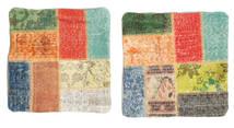 Patchwork Pillowcase Rug 50X50 Authentic Oriental Handknotted Square Orange/Dark Blue (Wool, Turkey)