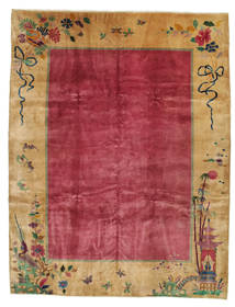 China Antique: Art Deco 1920 Rug 275X360 Authentic  Oriental Handknotted Light Brown/Crimson Red Large (Wool, China)