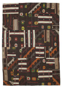 Kilim Patchwork Rug 200X288 Authentic Modern Handwoven Black/Dark Brown (Wool, Turkey)