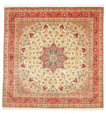 Tabriz 50 Raj With Silk Rug 292X298 Authentic  Oriental Handknotted Square Beige/Rust Red Large (Wool/Silk, Persia/Iran)
