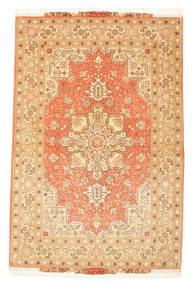 Tabriz 50 Raj Rug 102X160 Authentic  Oriental Handknotted Beige/Dark Beige/Light Brown (Wool/Silk, Persia/Iran)