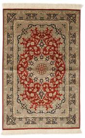 Ghom Silke Signert: Ghom Ahmadi Teppe 97X150 Ekte Orientalsk Håndknyttet Lysbrun/Rust (Silke, Persia/Iran)