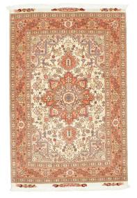Tebriz 50 Raj Dywan 103X159 Orientalny Tkany Ręcznie Jasnobrązowy/Beżowy (Wełna/Jedwab, Persja/Iran)